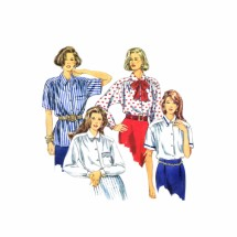 Misses Front Button Shirt and Tie Simplicity 8558 Vintage Sewing Pattern Size 12 - 14 - 16