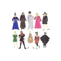 Boys and Girls Costumes Wizard Bride of Frankenstein Princess Witch Tinkerbell Grim Reaper Clown Minnie Mouse Bat Simplicity 8285 Vintage Sewing Pattern Size 7 - 8 - 10 - 12 - 14