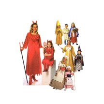 Girls Princess Devil Witch Little Bo Peep Indian Native American Colonial Halloween Costumes Simplicity 9724 Sewing Pattern Size S - M - L