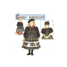 "1990s Girls Daisy Kingdom Dress and Doll Dress for 18"" Doll Simplicity 0669 Vintage Sewing Pattern Size 8 - 10 - 12 - 14"