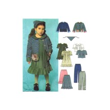 Girls Dress or Top Skirt Pants Jacket Scarf Simplicity 9417 Sewing Pattern Size 3 - 4 - 5 - 6 - 7 - 8