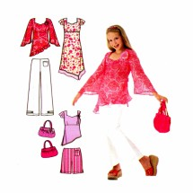 Lizzie McGuire Girls Dress Tunic Pants Short Purse Simplicity 4722 Sewing Pattern Size 8 1/2 thru 16 1/2