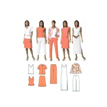 Misses Shirt and Knit Tank Dress or Top Skirt and Pants Simplicity 4992 Sewing Pattern Size 10 - 12 - 14 - 16 - 18 - 20