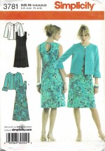 Misses Dress in Two Lengths with Neckline Variations and Jacket Simplicity 3781 Sewing Pattern Size 14 - 16 - 18 - 20 - 22