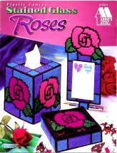 Stained Glass Roses Plastic Canvas Booklet