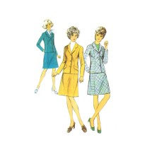 1970s Misses Suit Jacket and Skirt Style 3966 Vintage Sewing Pattern Full Figure Size 20 Bust 42