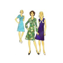 1970s Misses Front Seam Interest Dress Style 4707 Vintage Sewing Pattern Size 12 Bust 34