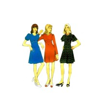 Midriff Dress Style 4740 Vintage Sewing Pattern Junior Petites Size 11 Bust 34