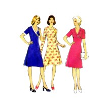 1970s Misses High Waist Dress Style 4742 Vintage Sewing Pattern Size 42 Bust 46