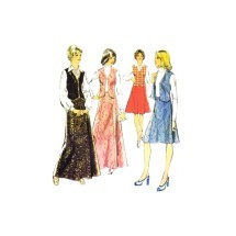1970s Misses Skirt in Two Lengths and Waistcoat Style 4749 Vintage Sewing Pattern Size 18 Bust 40