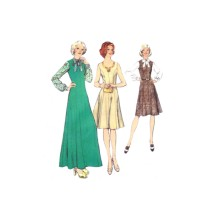 1970s Misses Pinafore Dress in Two Lengths and Blouse Style 4820 Vintage Sewing Pattern Size 44 Bust 48