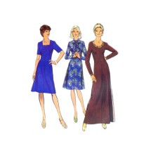 1970s Misses Dress in Two Lengths Style 4855 Vintage Sewing Pattern Half Size 18 1/2 Bust 41