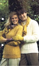 His 'n Hers Sweater with Cable Panels Knitting Pattern