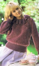 Sweater with Ruffled Collar Knitting Pattern