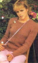 Textured Sweater with Center Cable Knitting Pattern