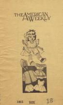 1940's American Weekly 3855 Sewing Pattern Dolls Dress Pinafore Coat Hood Slip Panties