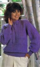 Tie Neck Sweater Knitting Pattern