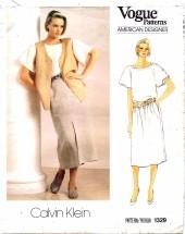 Vogue 1329 Calvin Klein Top Vest Skirt Size 8 - Bust 31 1/2