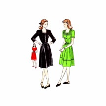 1940s Square Neck Flared Dress Vogue 3021 Vintage Sewing Pattern Size 15 Bust 33