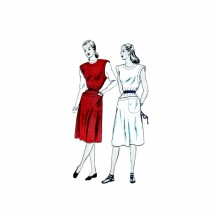 1940s Misses Sleeveless Dress or Jumper Dress Vogue 5609 Vintage Sewing Pattern Size 16 Bust 34