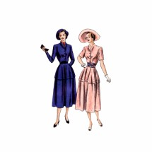 1940s Peplum Dress with Circular Skirt and Cummerbund Vogue 6271 Vintage Sewing Pattern Size 16 Bust 34
