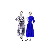 1940s Full Skirt Dress Vogue 6354 Vintage Sewing Pattern Size 16 Bust 34
