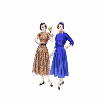 1940s Peplum Dress with Circular Skirt Vogue 6356 Vintage Sewing Pattern Size 16 Bust 34
