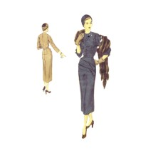 1940s Womens Asymmetrical Slim Dress Vogue S-4031 Special Design Vintage Sewing Pattern Size 12 Bust 30