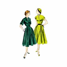 1950s Flared Dress Vogue 3386 Vintage Sewing Pattern Size 15 Bust 33