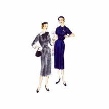 1950s Front Button Sheath Dress Vogue 7239 Vintage Sewing Pattern Size 14 Bust 32