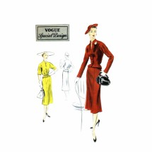 1950s Womens Jacket Blouse Skirt Suit Vogue Special Design S-4330 Vintage Sewing Pattern Size 16 Bust 34