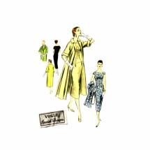 1950s Fitted Slim Wiggle Dress Coat Ensemble Vogue Special Design S-4659 Vintage Sewing Pattern Size 12 Bust 30