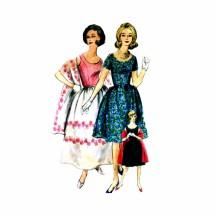 1960s Misses Scoop Neck Dress Stole Vogue 4227 Special Design Vintage Sewing Pattern Size 10 Bust 33