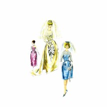 1960s Brides Wedding Dress Train Overblouse Coronet Veil Evening Gown Vogue 4298 Vintage Sewing Pattern Size 14 Bust 34