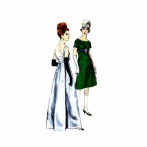 1960s Cocktail Evening Dress Vogue 5942 Vintage Sewing Pattern Size 10 Bust 31