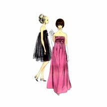 1960s Strapless Evening Dress Vogue 6943 Vintage Sewing Pattern Size 14 Bust 34