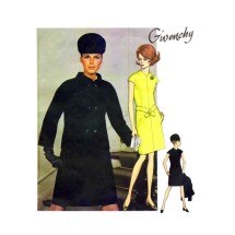 1960s Givenchy Fitted Dress Double Breasted Jacket Vogue 1918 Vintage Sewing Pattern Size 12 Bust 34