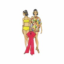 1960s Misses Pantdress Cover-Up and Swimsuit Vogue 7336 Vintage Sewing Pattern Size 10 Bust 32 1/2
