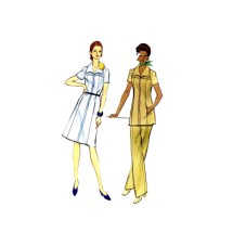 1970s Front Zipped Dress Tunic Straight Leg Pants Vogue 8291 Vintage Sewing Pattern Full Figure Half Size 16 1/2 Bust 39