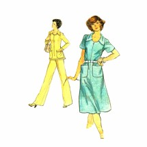 1970s Half Size Dress Top Pants Vogue 9207 Vintage Sewing Pattern Size 22 1/2 Bust 45