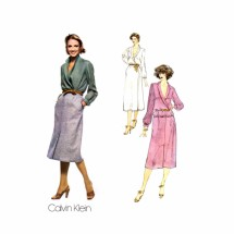 1970s Calvin Klein Top Dress Skirt Vogue 1972 Vintage Sewing Pattern Size 12 Bust 34