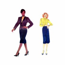 1980s Emanuel Ungaro Jacket Skirt Blouse Vogue 2400 Paris Original Vintage Sewing Pattern Size 10 Bust 32 1/2