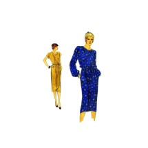 1980s Cowl Neck Wrap Skirt Dress Vogue 7541 Vintage Sewing Pattern Size 12 Bust 34