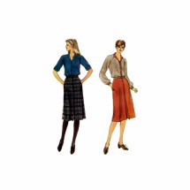 1980s Misses Blouson Bodice Dress Vogue 7851 Vintage Sewing Pattern Size 8 Bust 31 1/2