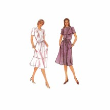 1980s Misses Loose Fitting Blouson Dress Vogue 7931 Vintage Sewing Pattern Size 12 Bust 34