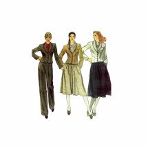 1980s Misses Jacket Skirt Pants Vogue 7893 Vintage Sewing Pattern Size 10 Bust 32 1/2