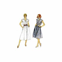 1980s Misses Loose Fitting Pullover Flared Dress Vogue 8324 Vintage Sewing Pattern Size 10 Bust 32 1/2