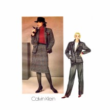 1980s Calvin Klein Jacket Skirt Pants Suit Vogue 1238 Vintage Sewing Pattern Size 10 Bust 32 1/2