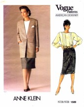 Vogue 1589 Anne Klein Jacket Blouse Skirt Suit Size 10 - Bust 32 1/2
