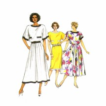 1980s Misses Flared Dress Vogue 9583 Vintage Sewing Pattern Size 8 - 10 - 12